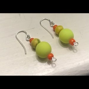 Sterling Silver Earrings with African Beads